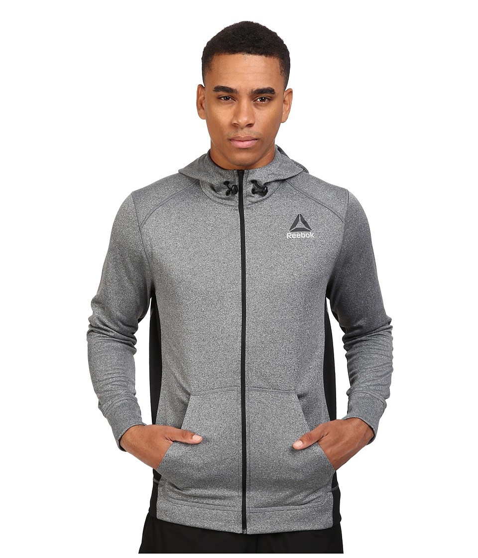 Reebok - Work Poly Fleece Full Zip Hoodie (Dark Grey Heather) Men's Fleece