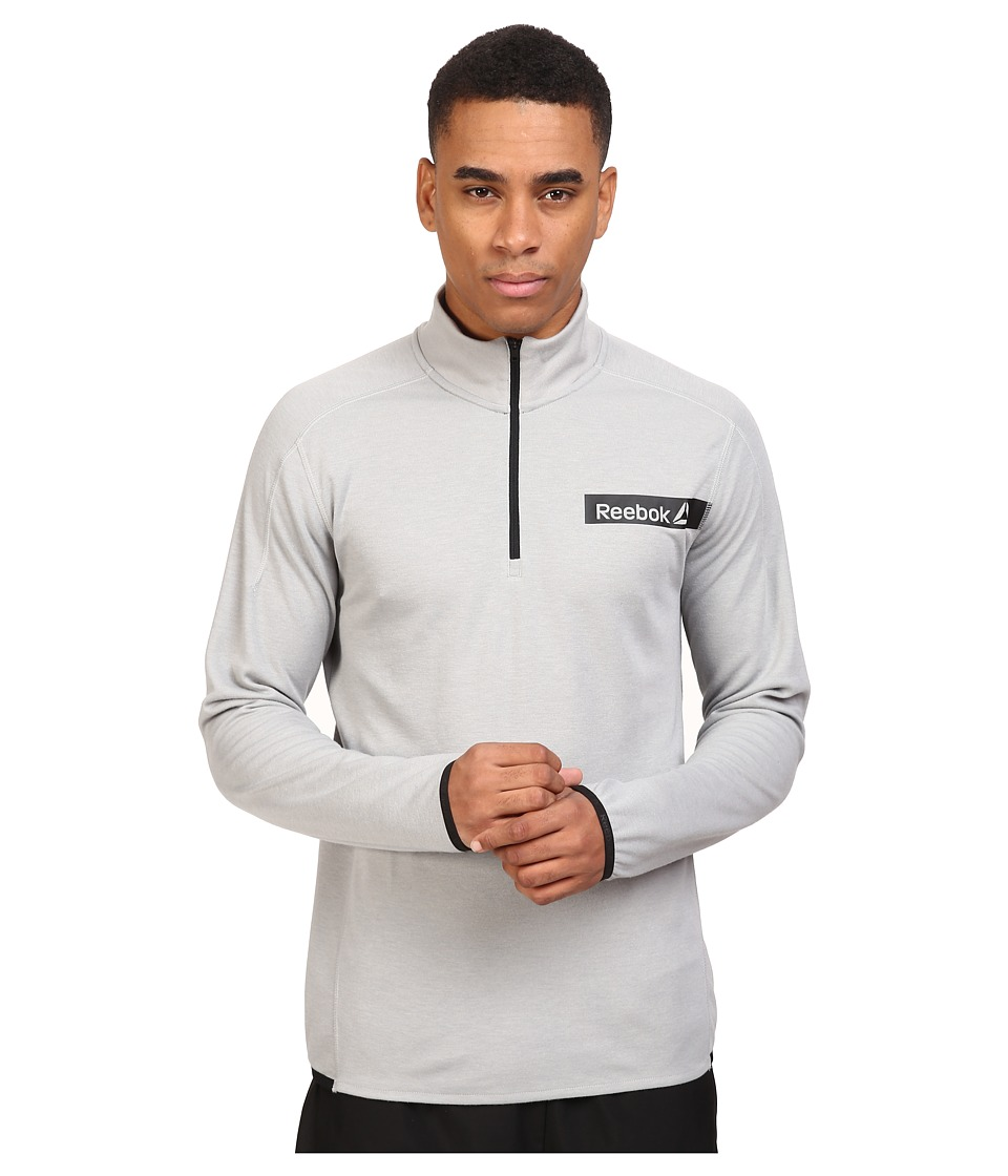 Reebok - Workout Ready Co Wool 1/4 Zip (Medium Grey Heather Solid Grey) Men's Clothing