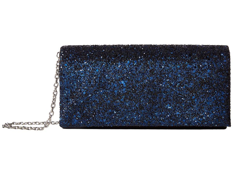 Jessica McClintock - Chloe Glitter Flap Clutch (Navy) Clutch Handbags
