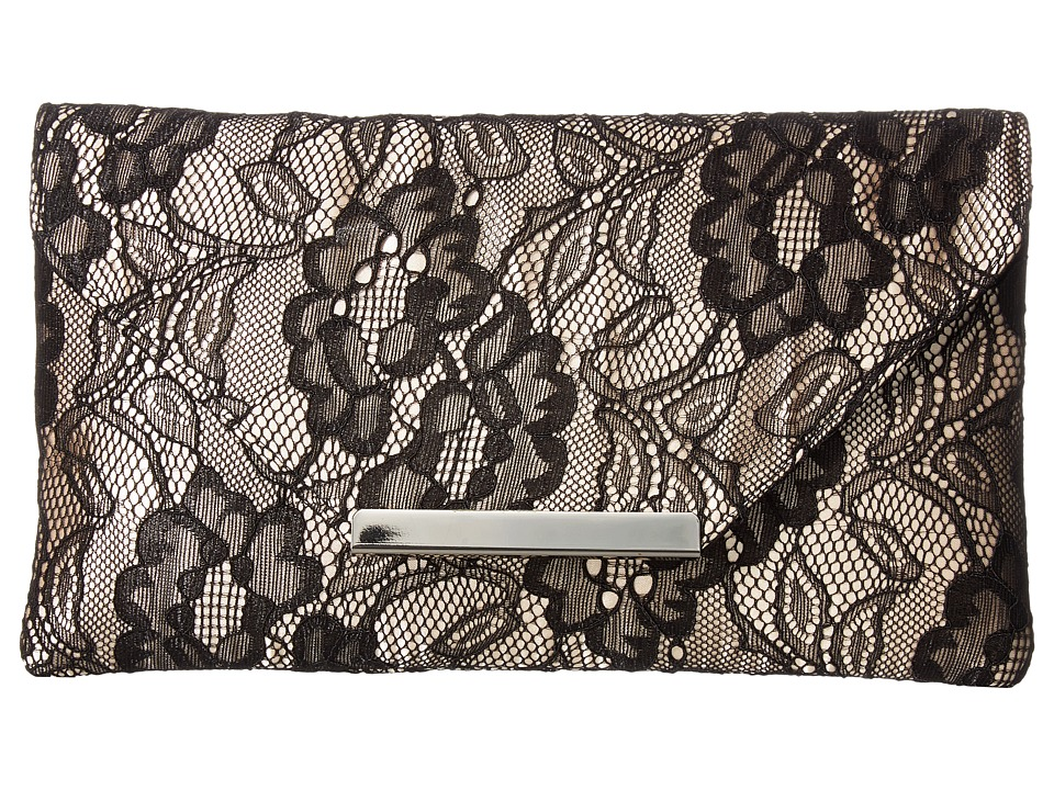Jessica McClintock Riley Lace Envelope Clutch (Black) Clutch Handbags