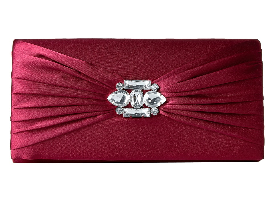 Jessica McClintock - Francesca Satin Brooch Clutch (Wine) Clutch Handbags