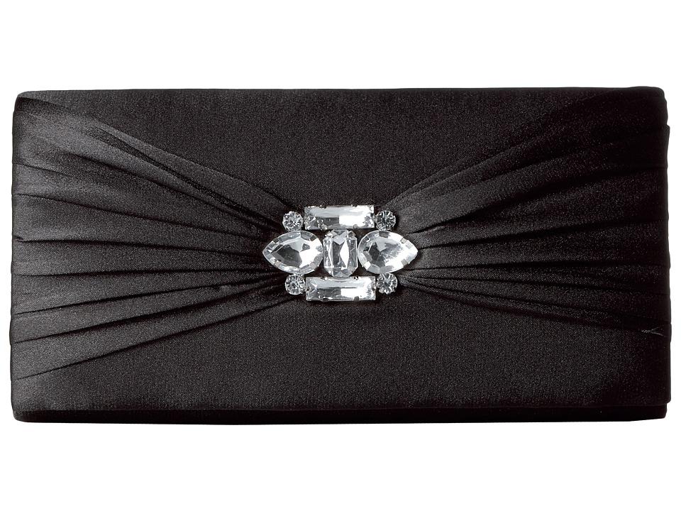 Jessica McClintock - Francesca Satin Brooch Clutch (Black) Clutch Handbags