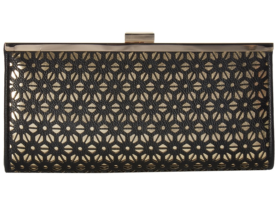 Jessica McClintock - Laura Perforated Framed Clutch (Black) Clutch Handbags