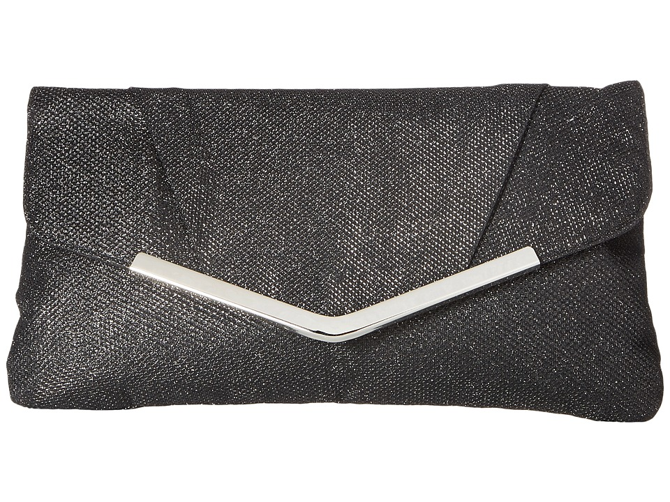 Jessica McClintock Arielle Lurex Envelope Clutch (Black) Clutch Handbags