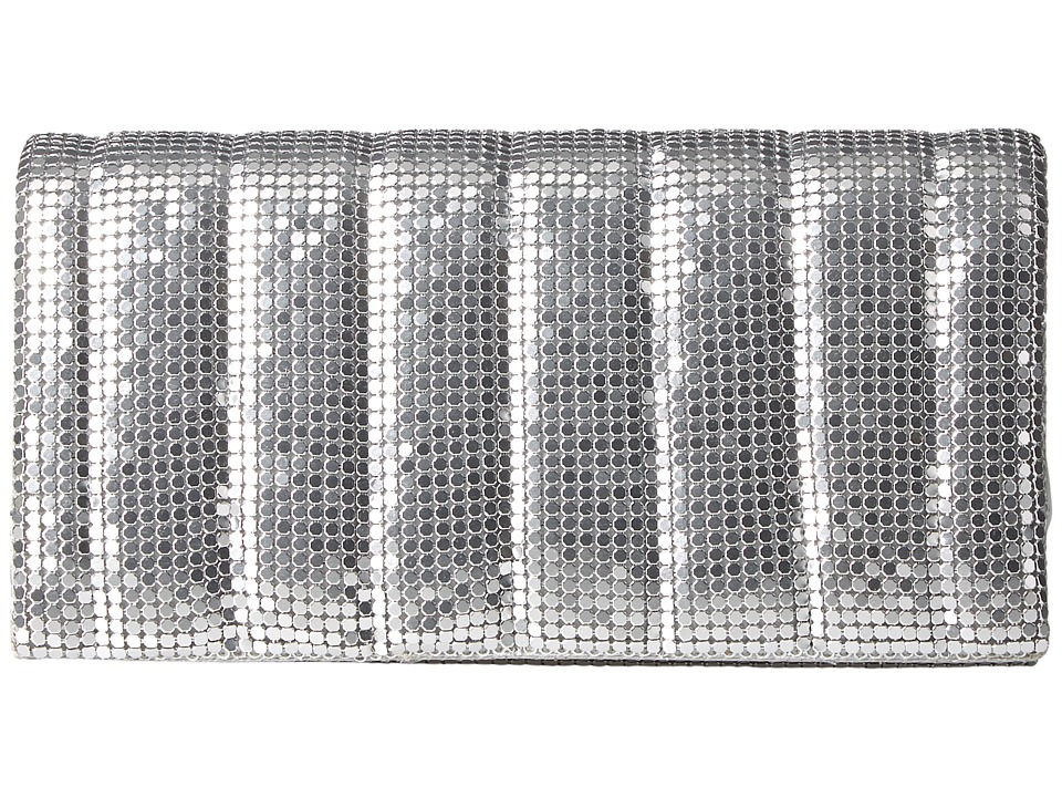 Jessica McClintock - Cassie Quilted Flap Clutch (Silver) Clutch Handbags