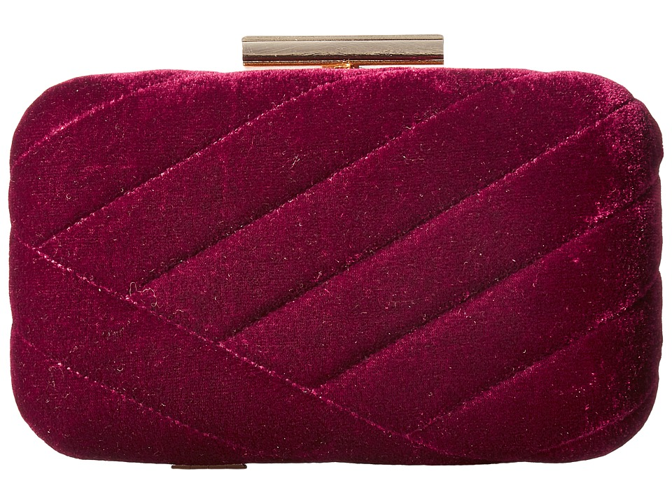 Jessica McClintock - Ashlyn Velvet Clutch (Wine) Clutch Handbags