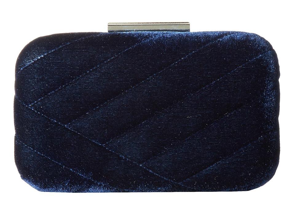 Jessica McClintock - Ashlyn Velvet Clutch (Navy) Clutch Handbags