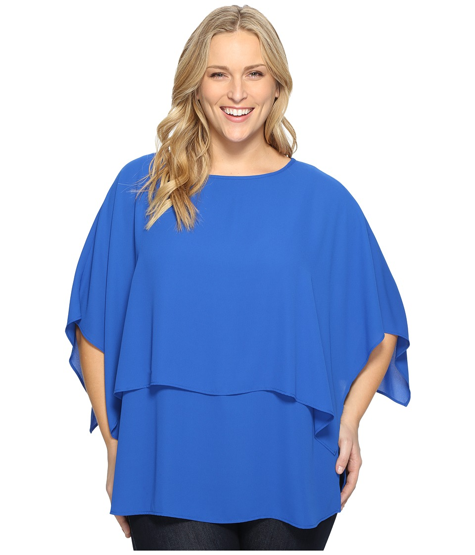 Karen Kane Plus - Plus Size Double Layer Top (Bright Blue) Women's Blouse