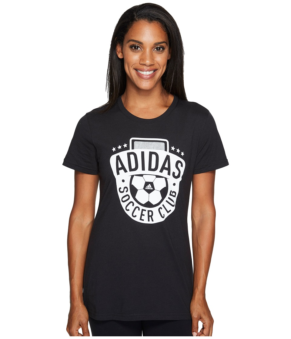 adidas - Adi Soccer Club Tee (Black/White) Women's T Shirt