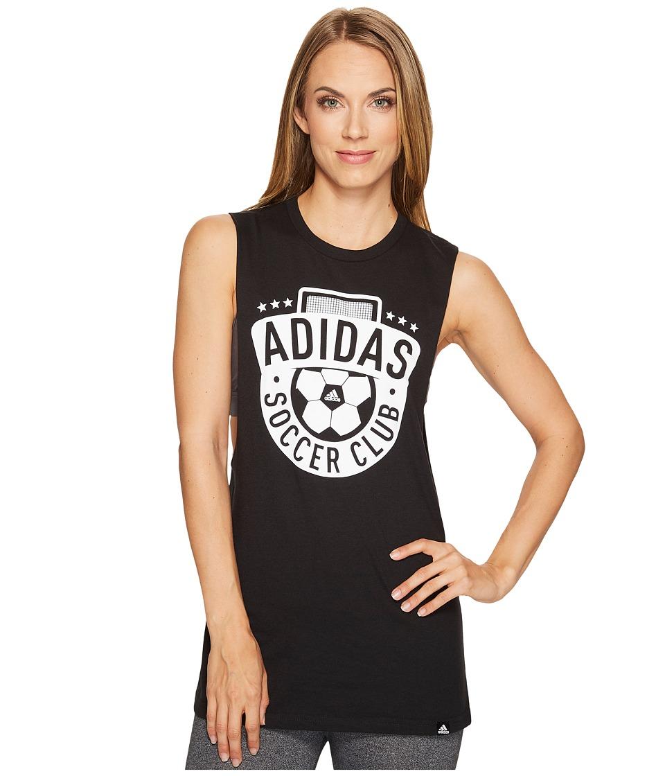 adidas - Adi Soccer Club Muscle Tank Top (Black/White) Women's Sleeveless