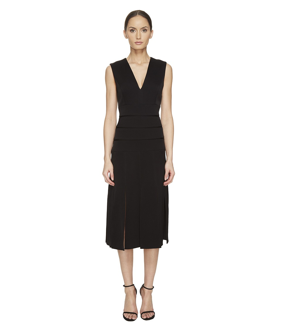 Prabal Gurung - Mech Stretch Crepe V-Neck Carwash Dress (Black) Women's Dress