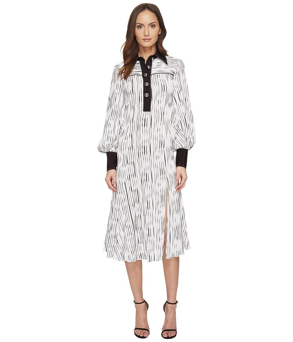 Prabal Gurung Long Sleeve Polo Dress (Black/White) Women