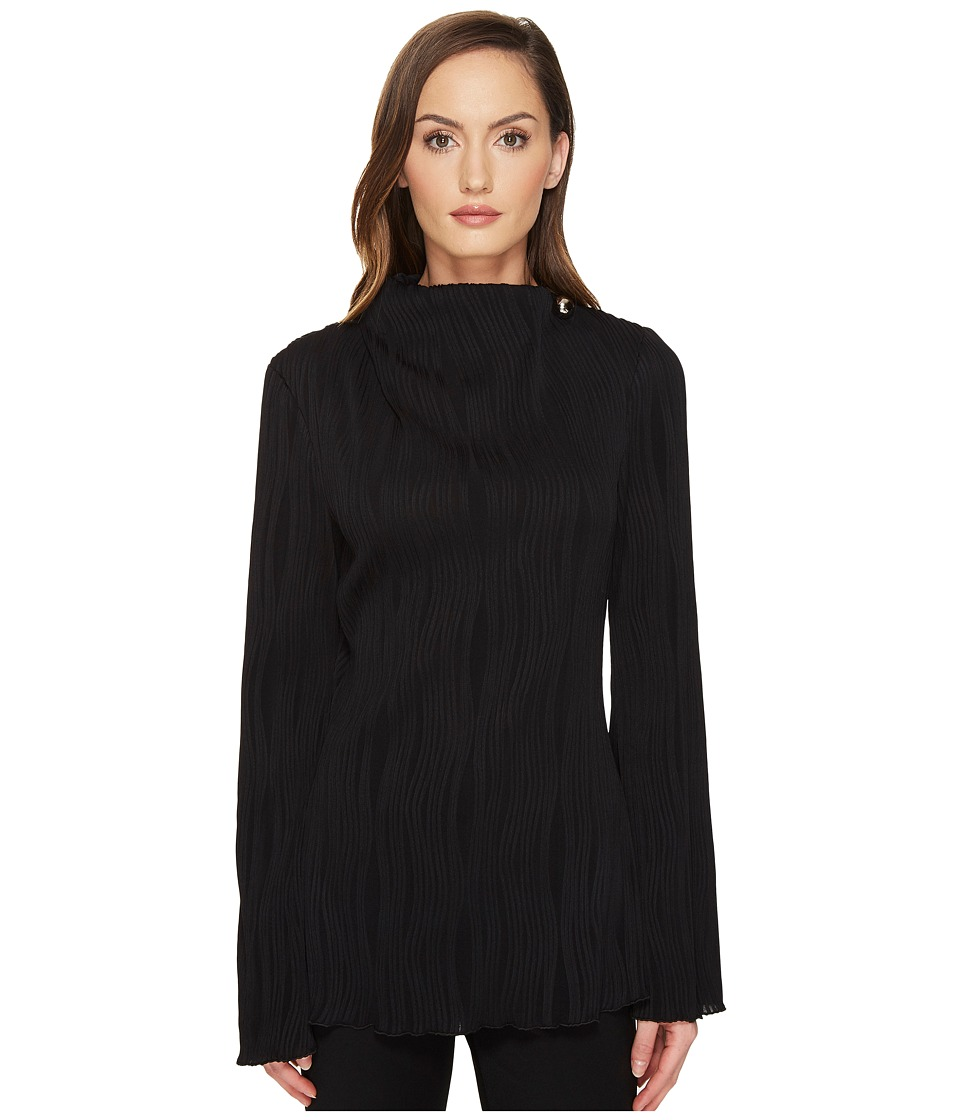 Prabal Gurung - Long Sleeve High Neck Blouse w/ Metal Ball Detail (Black) Women's Blouse