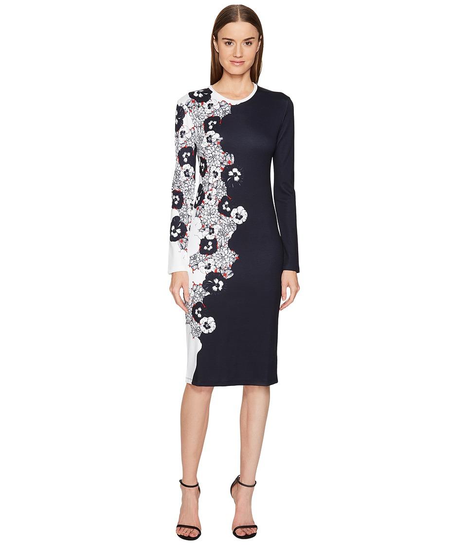 Prabal Gurung - Printed Viscose Long Sleeve Knit Dress (Black/White) Women's Dress