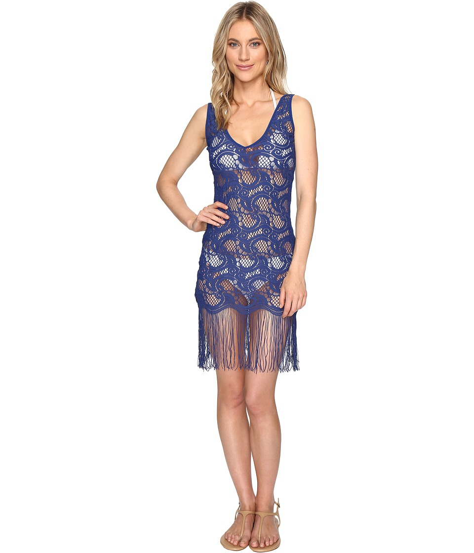 Luli Fama - Wanted and Wild Flirty Fringe Dress Cover-Up (Blue) Women's Dress
