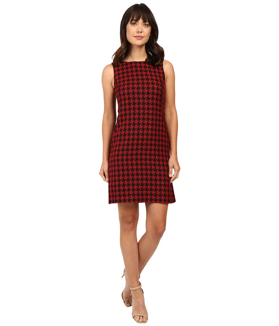 Tahari by ASL - Houndstooth Print Shift with Leather Piping (Black/Red) Women's Dress