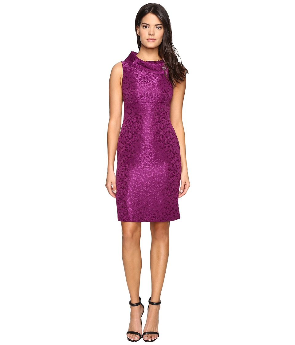 Tahari by ASL - Jacquard Sheath with Envelope Neck and Brooch (Currant) Women's Dress