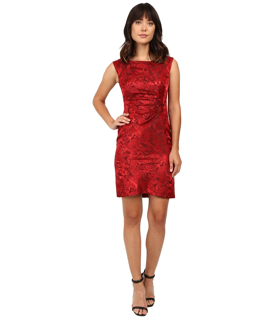Tahari by ASL - Side Ruche Jacquard Sheath Dress (Garnet) Women's Dress