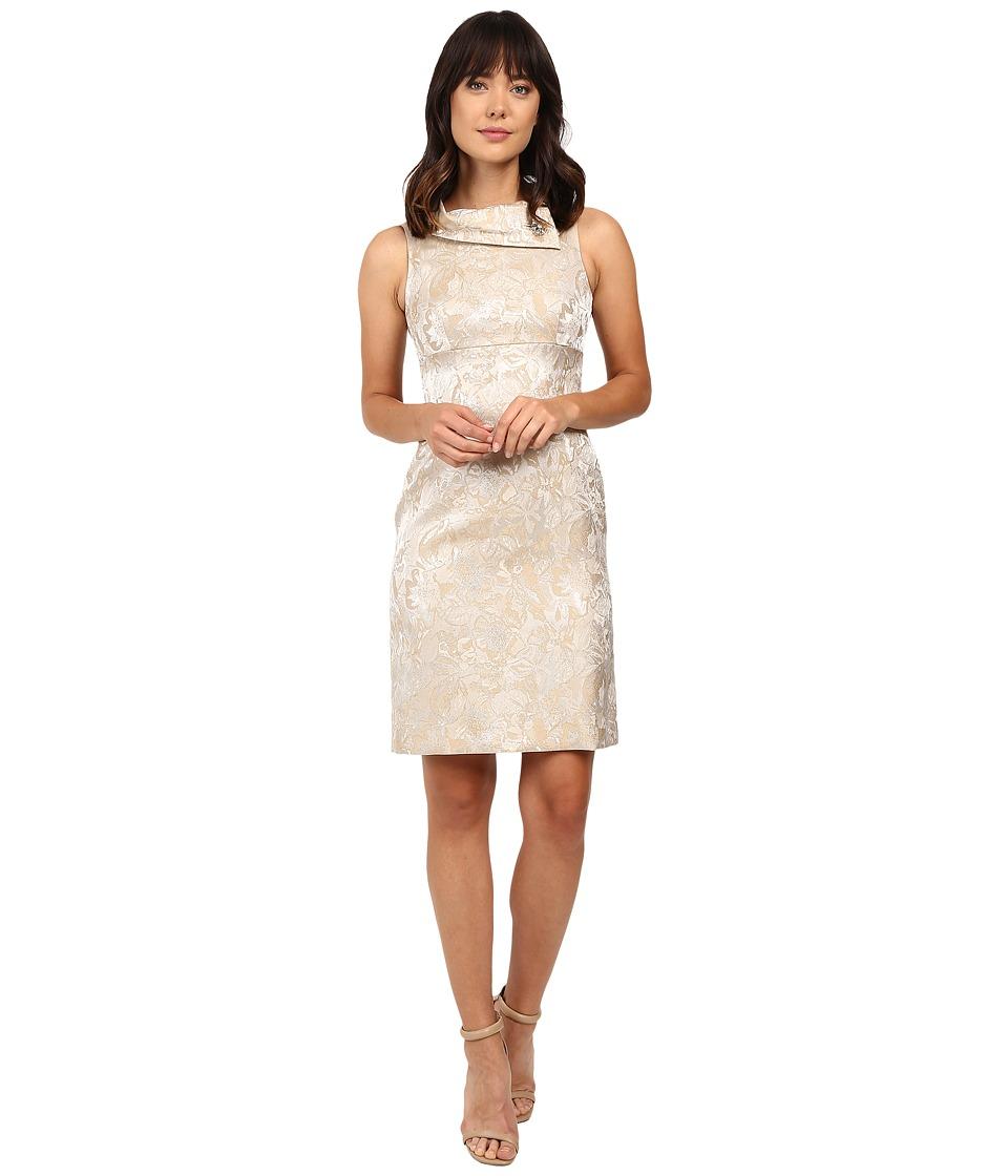 Tahari by ASL - Rollneck Shimmer Jacquard Sheath Dress (Champagne) Women's Dress
