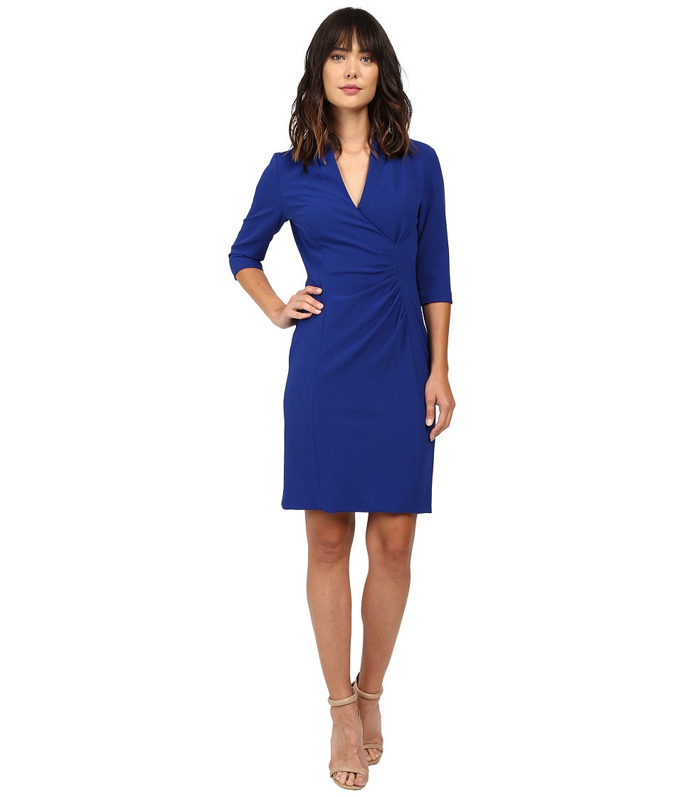 Tahari by ASL - Side Ruche Crepe Sheath Dress (Sapphire) Women's Dress