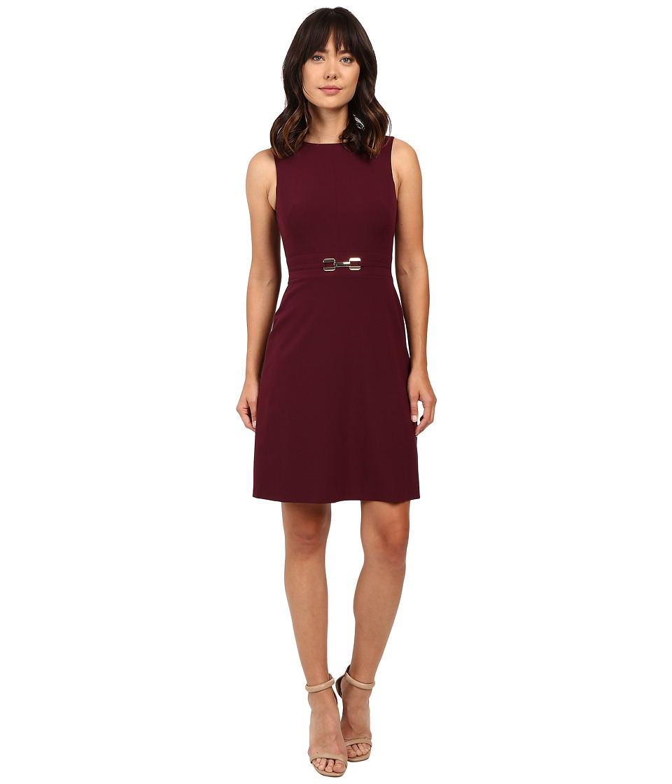Tahari by ASL - A-line Dress w/ Hardware (Wine) Women's Dress