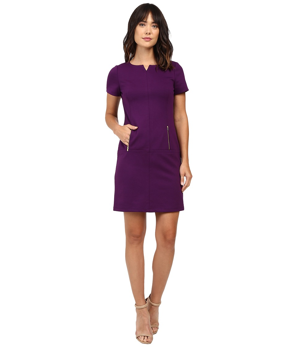 Tahari by ASL - Zipper Accented Shift Dress (Plum) Women's Dress