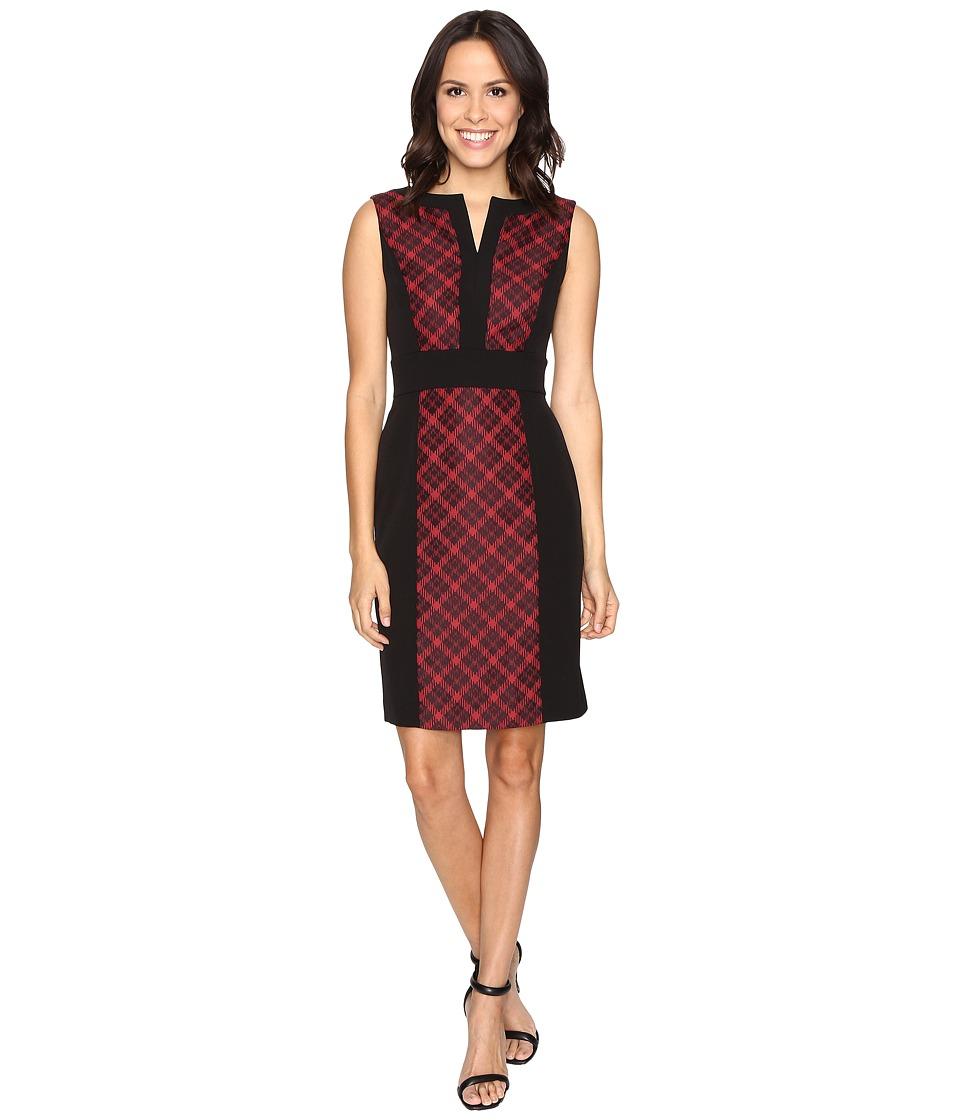 Tahari by ASL - Plaid Sheath Dress (Black/Red) Women's Dress