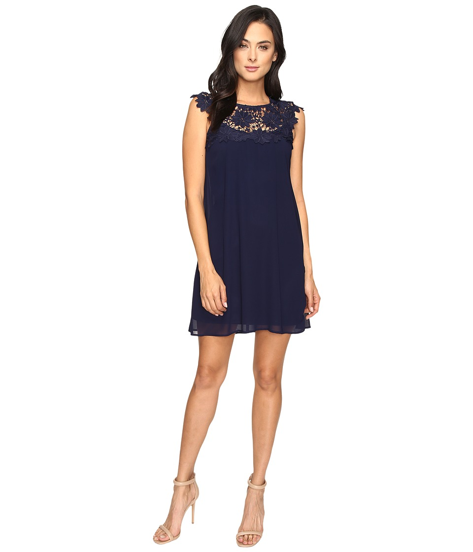 Jessica Simpson - Lace Chiffon Babydoll Dress (Navy) Women's Dress