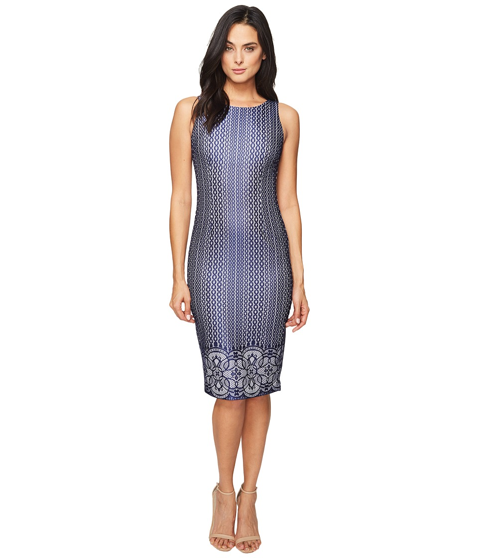 Jessica Simpson Deco Border Bonded Lace Dress (Ivory/Navy) Women