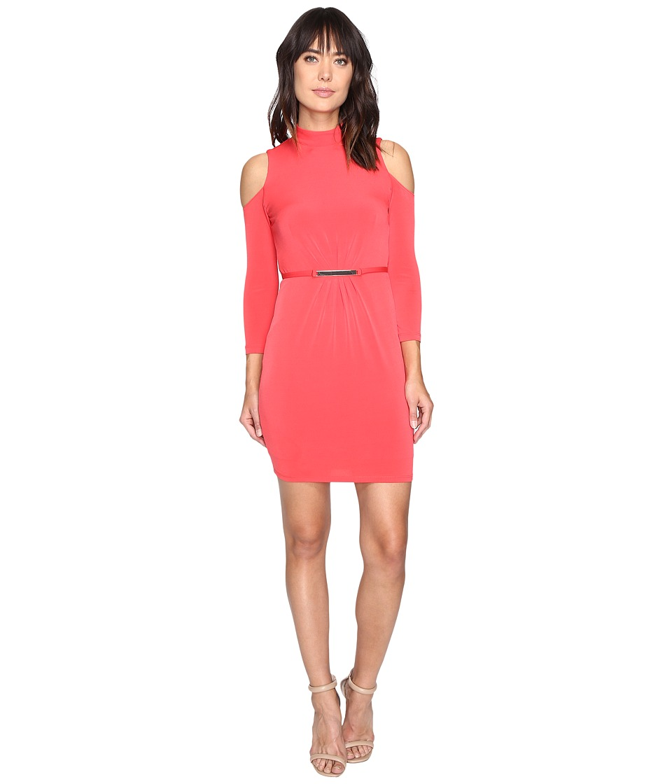 Jessica Simpson - Cold Shoulder Mock Nuck Dress (Hot Coral) Women's Dress