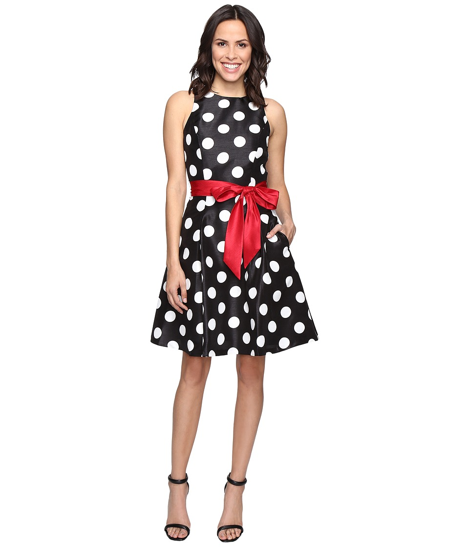 Tahari by ASL - Shantung Polka Dot Party Dress (Black/White/Red) Women's Dress