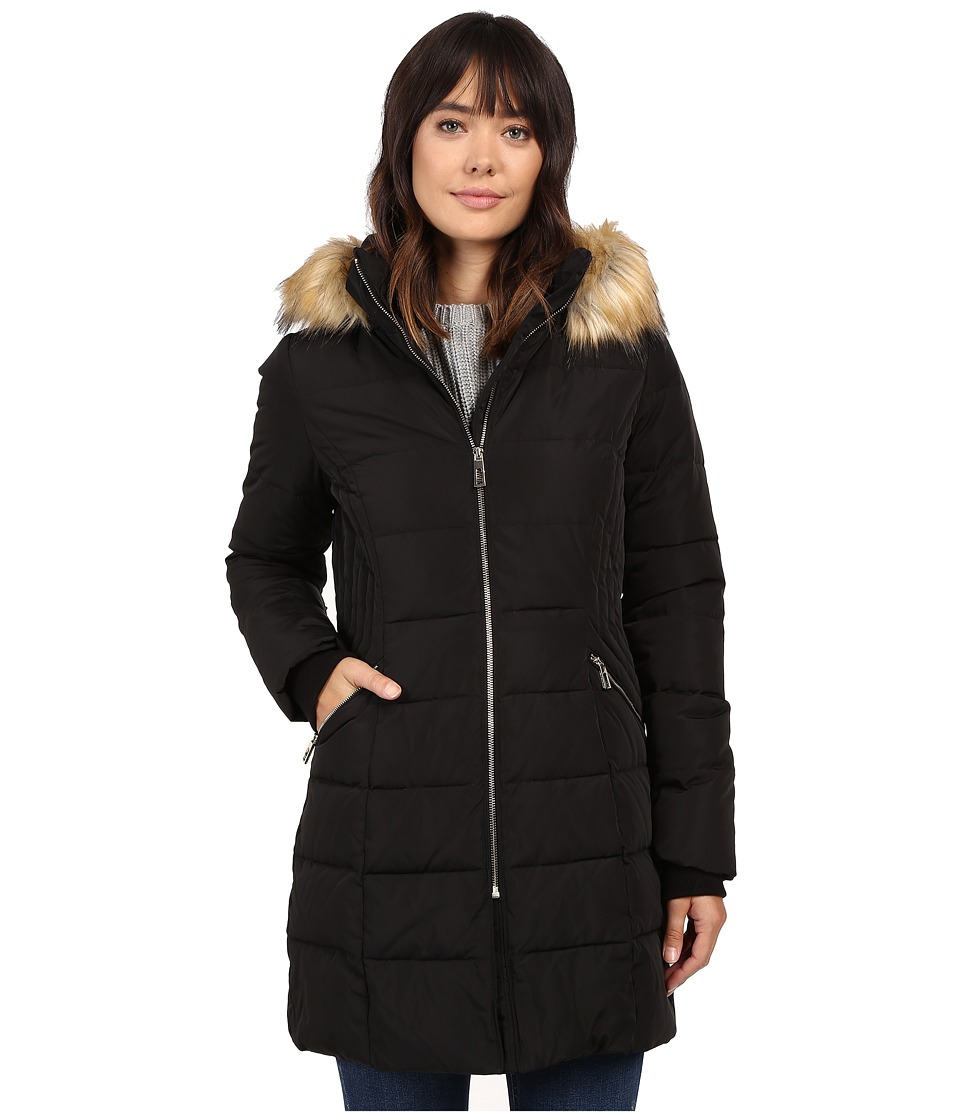 Ivanka Trump - Down Coat with Cinched in Sides and Faux Fur Hood (Black) Women's Coat