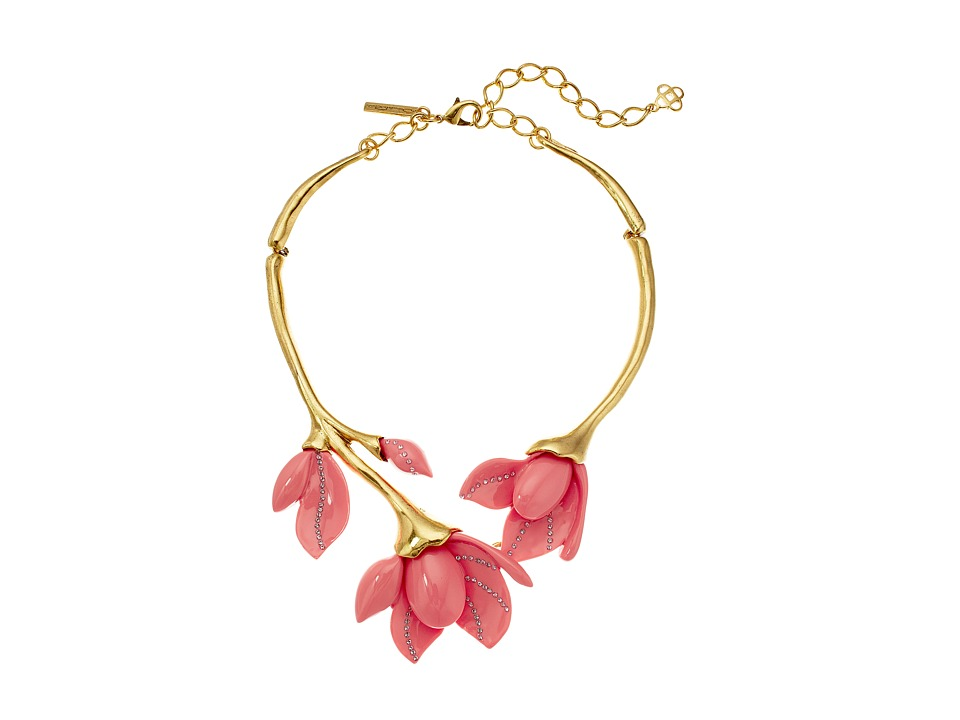 Oscar de la Renta - Magnolia Resin Flower Necklace (Melon) Necklace