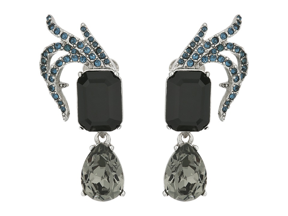 Oscar de la Renta - Pave Leaf and Crystal C Earrings (Black) Earring