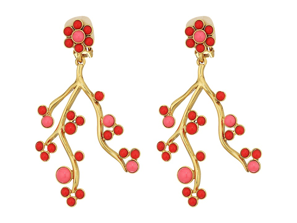 Oscar de la Renta - Cabochon and Crystal Vine C Earrings (Cayenne) Earring