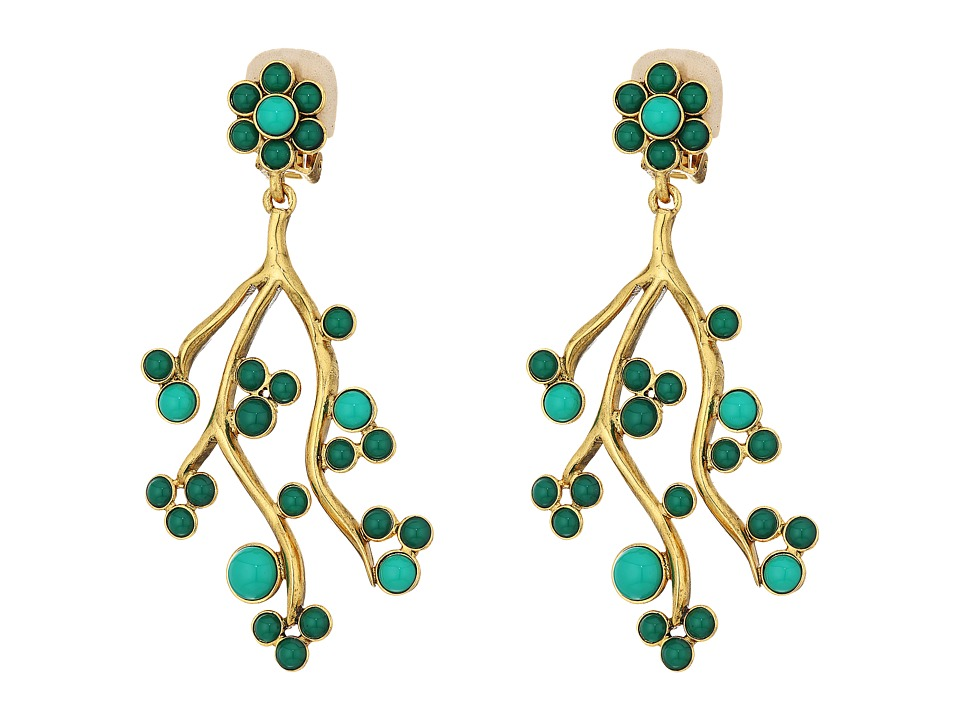 Oscar de la Renta - Cabochon and Crystal Vine C Earrings (Emerald) Earring
