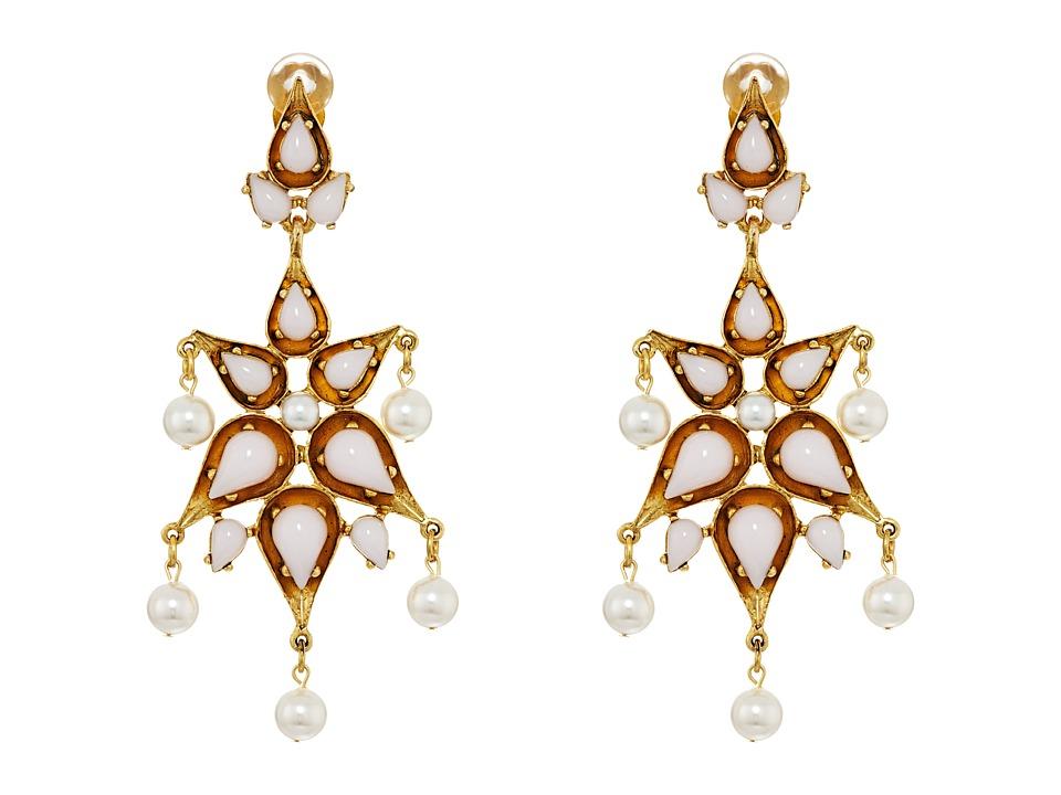 Oscar de la Renta - Cabochon Pear Stone and Pearl C Earrings (Blossom) Earring