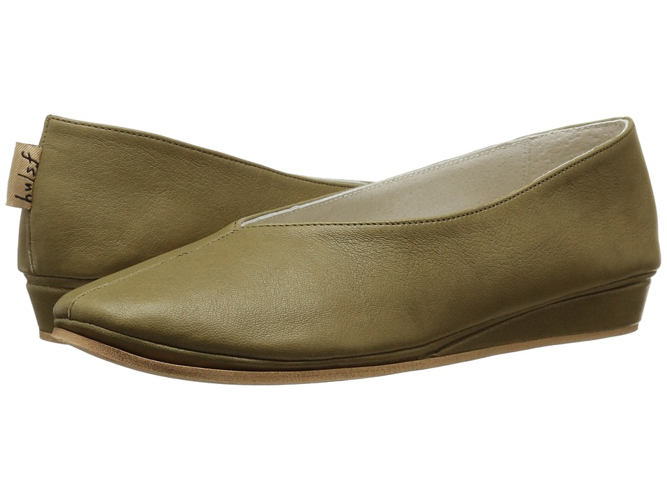 French Sole - Split (Jungle Green Nappa Leather) Women's Flat Shoes