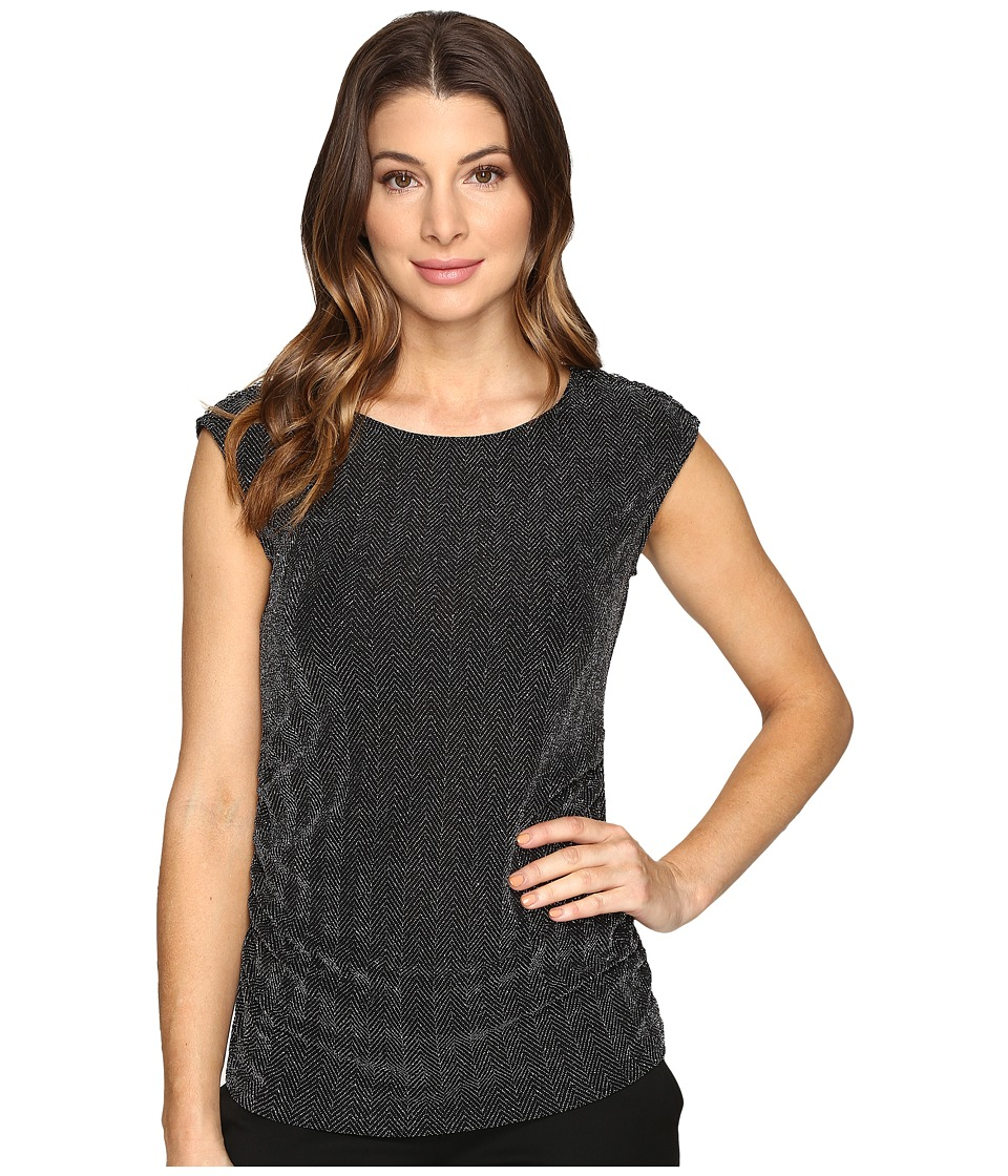 Calvin Klein - Lurex Top with Buttons (Black/Silver) Women's Clothing