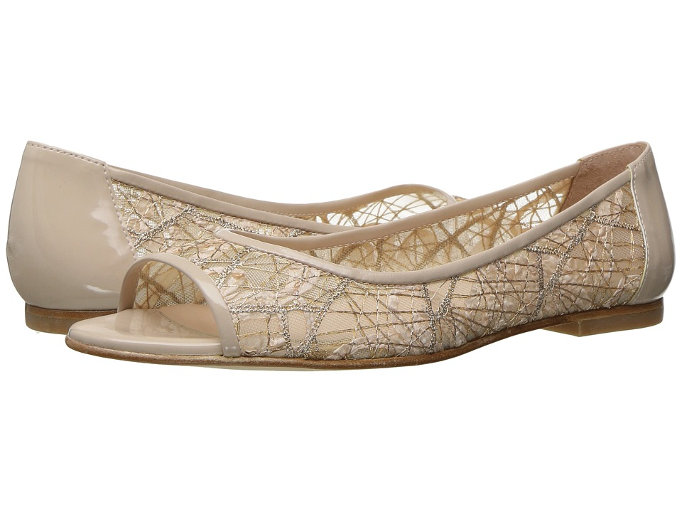 French Sole - Noir (Beige Chagall Mesh/Patent Leather) Women's Flat Shoes