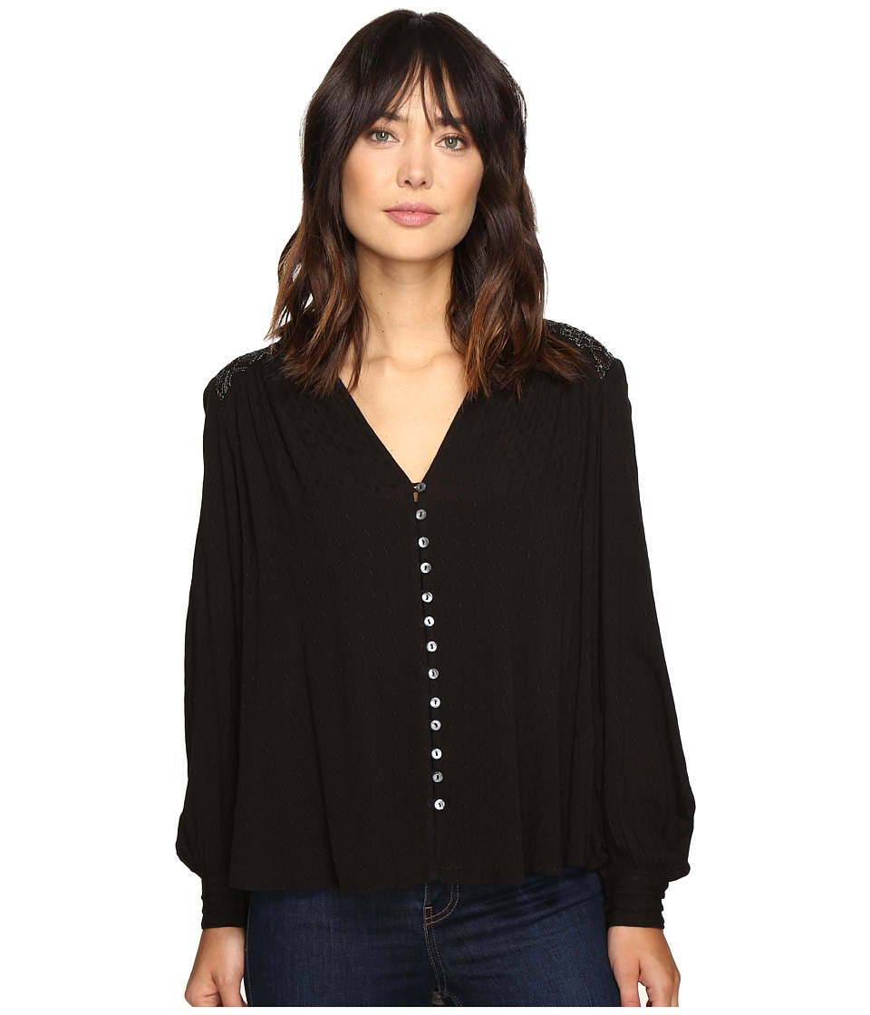 Free People - Canyon Rose Button Down (Black) Women's Clothing