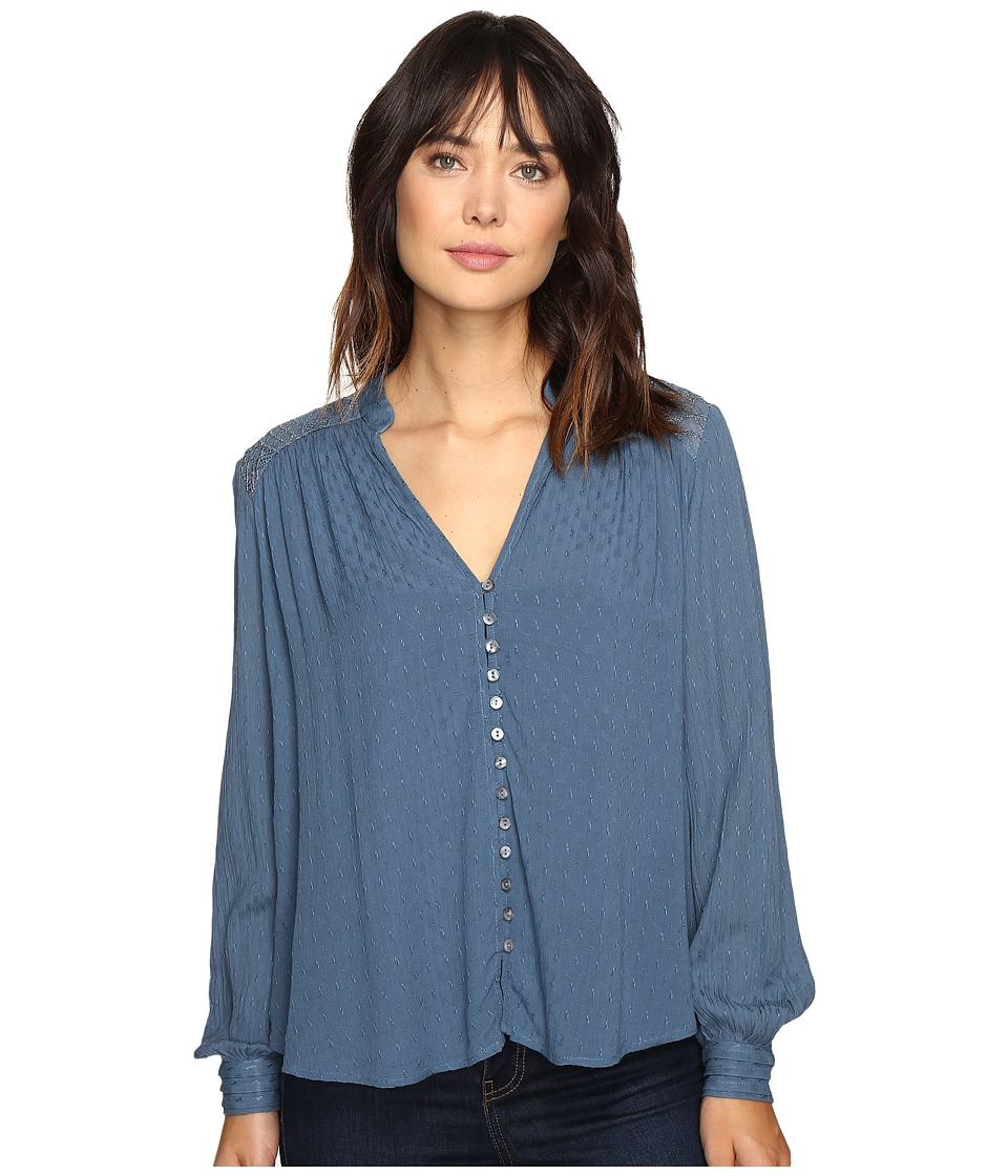 Free People - Canyon Rose Button Down (Blue) Women's Clothing