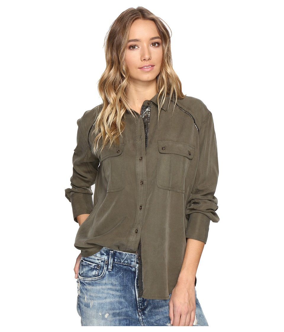 Free People - Off Campus Button Down (Moss) Women's Clothing