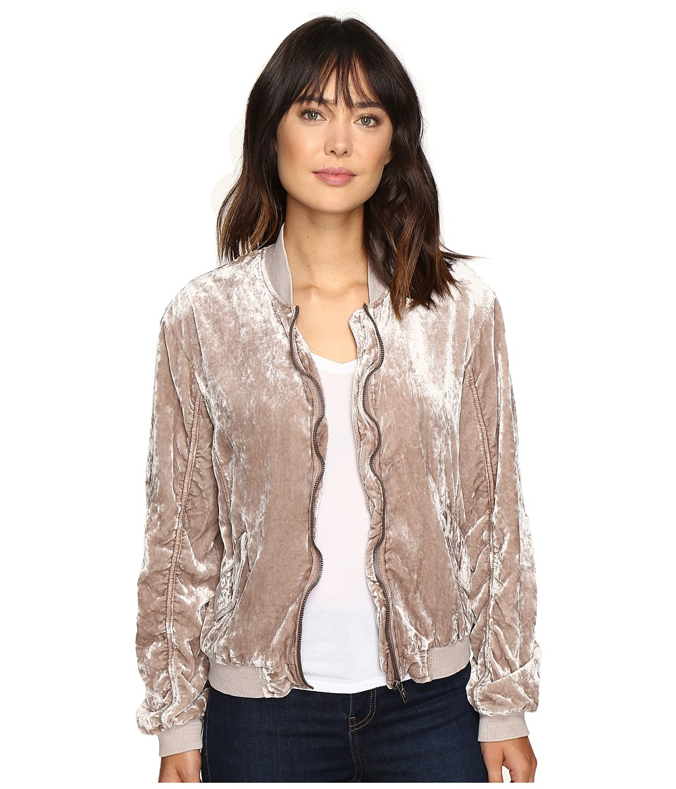 Free People - Ruched Velvet Bomber Jacket (Sand) Women's Coat