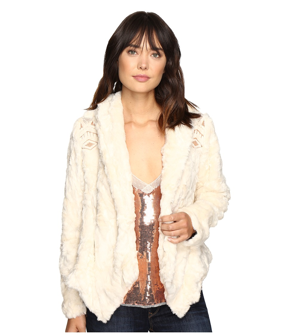 Free People - Embroidered Cascade Fur Jacket (Ivory) Women's Coat