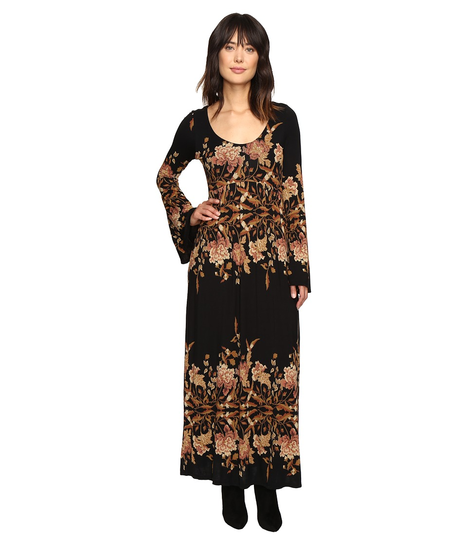 Free People - Midnight Garden Midi Dress (Black Combo) Women's Dress