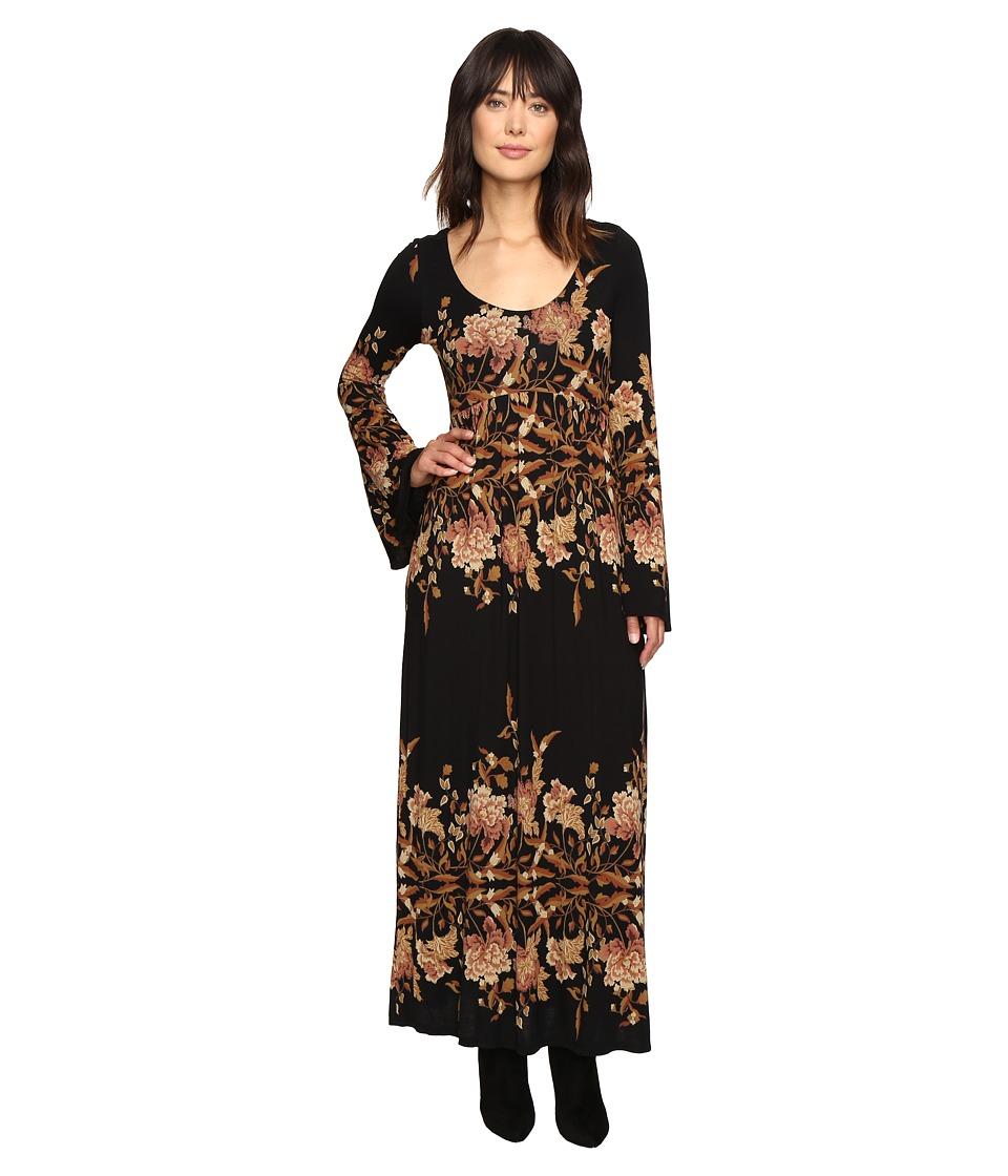 Free People - Midnight Garden Midi Dress (Black Combo) Women's Dress