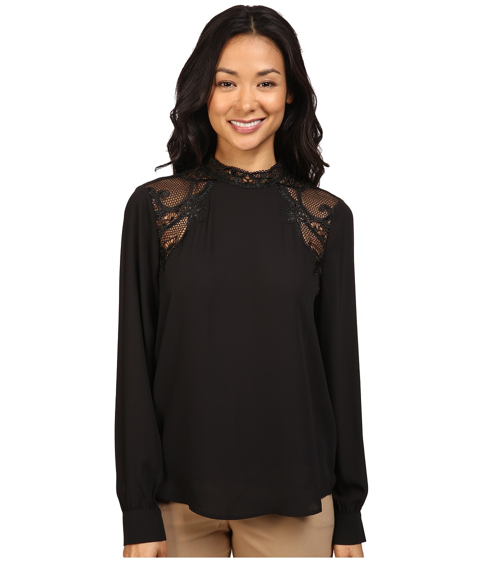 Ivanka Trump - Georgette Blouse with Lace (Black/Black) Women's Blouse