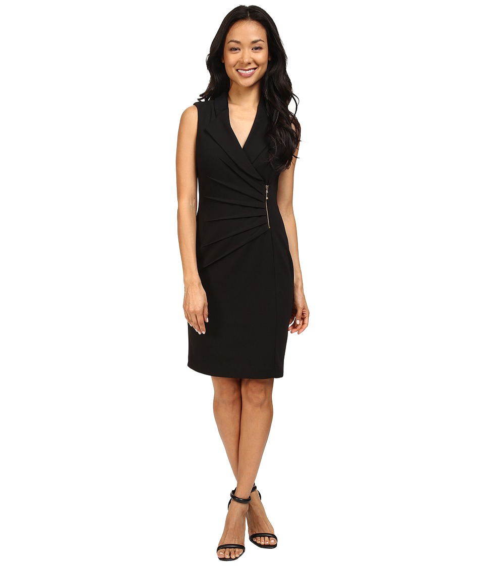 Ivanka Trump - Ponte Dress with Suede Shoulders (Black) Women's Dress