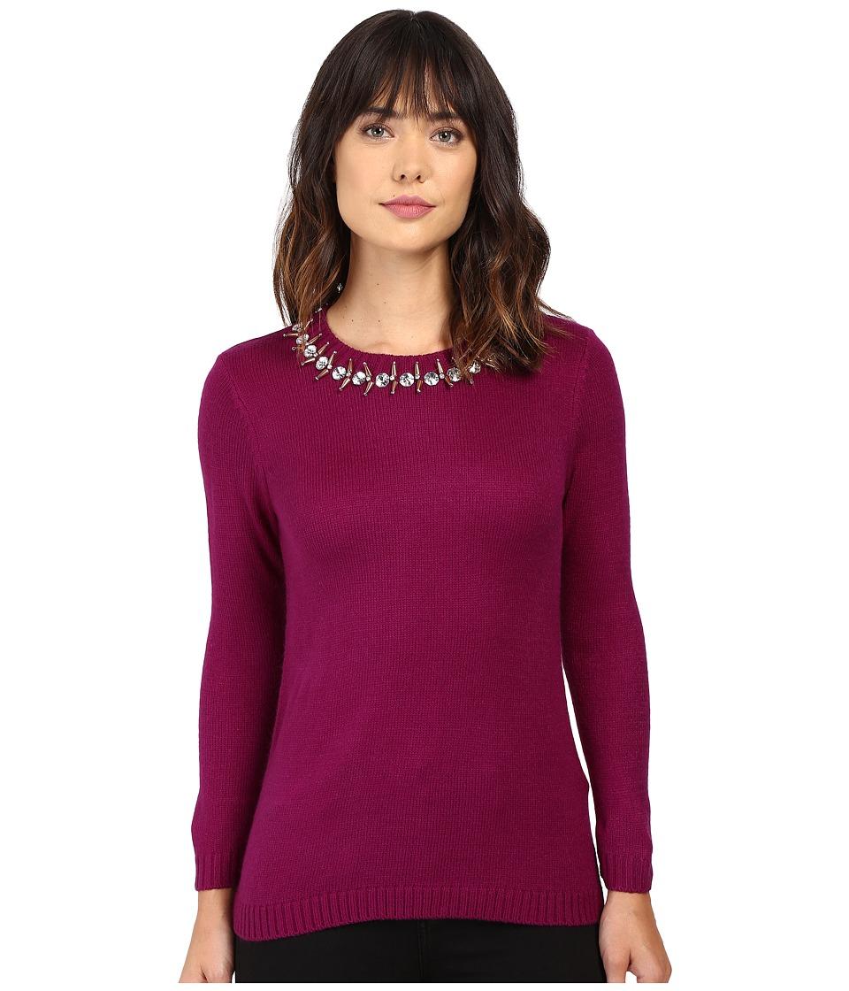 Ivanka Trump - Jewel Neck Sweater (Boysenberry) Women's Sweater